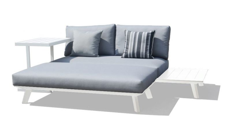 POSITANO Outdoor Aluminum Daybed White-Two Seater Sofa with OTTOMAN