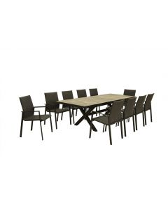 CLIFTON CERAMIC EXTENSION TABLE CHARCOAL WITH EDEN CHAIRS - 11PC OUTDOOR DINING SETTTING