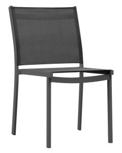 APRIL OUTDOOR TEXTILENE ARMLESS DINING CHAIR CHACROAL/BLACK