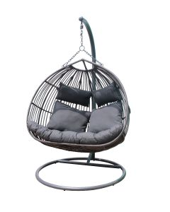 DONEY OUTDOOR WICKER DOUBLE HANGING EGG CHAIR CHARCOAL