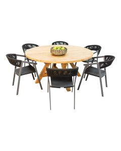 Grace Distressed Teak Table & Auto Alu Rope Chair Charcoal-7pc Outdoor Dining Setting