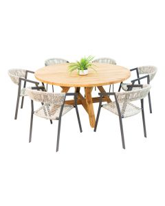 Grace Recycled Teak Table & Auto Alu Wicker Chair Charcoal -7pc Outdoor Dining Setting