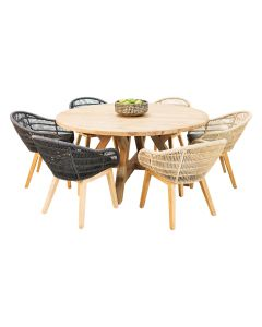 Grace Recycled Teak Table & Monsoon Wicker Teak Chair-7pc Outdoor Dining Setting
