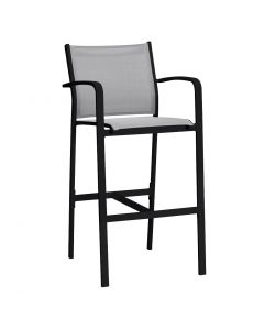 LUIS OUTDOOR TEXTILENE BAR STOOL WITH ARM CHARCOAL/SILVER BLACK