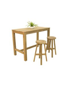 Miles Teak Bar Table & Cara Teak Bar Stool  - 3pc Outdoor Dining Setting
