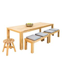 Polly Recycled Teak Table with Polly Bench &Stool-4pc