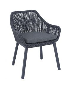 STRING OUTDOOR WICKER DINING CHAIR CHARCOAL/BLACK WITH ALUMIUM LEG