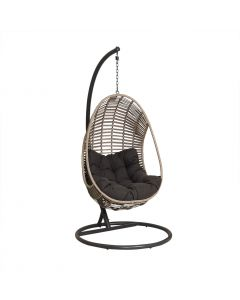 TURIN OUTDOOR WICKER HANGING EGG CHAIR LIGHT GREY