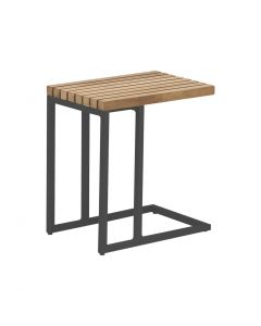 WALES OUTDOOR  ALUMINUM / TEAK  SIDE TABLE CHARCOAL W30XD45CM