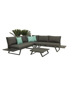 YARRA 5 SEATER OUTDOOR LOUNGE SETTING CHARCOAL-WITH LOW COFFEE TABLE