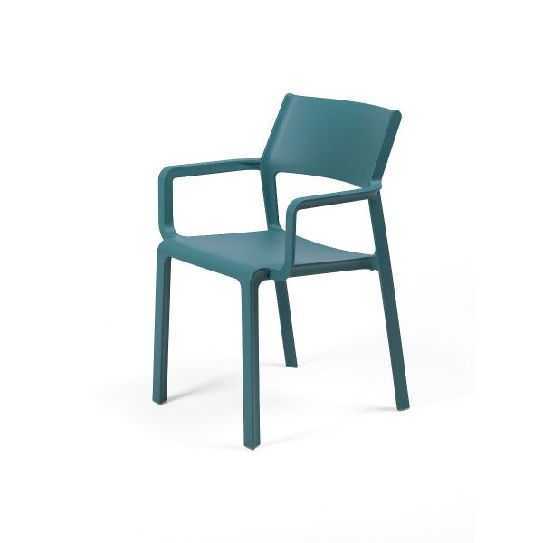 NARDI TRILL OUTDOOR RESIN DINING ARM CHAIR OCEAN BLUE (OTTANIO)