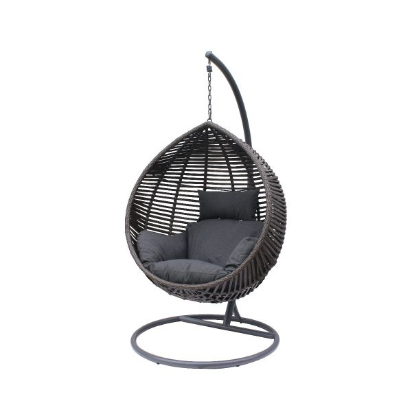 BARI OUTDOOR WICKER HANGING EGG CHAIR CHARCOAL