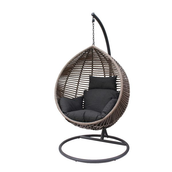 BARI OUTDOOR WICKER HANGING POD CHAIR LIGHT GREY