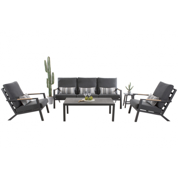 TORONTO 5 SEATER OUTDOOR LOUNGE SETTING CHARCOAL