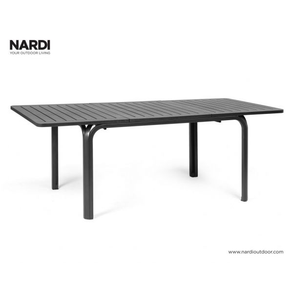 ALLORO OUTDOOR RESIN EXTENSION DINING TABLE ANTHRACITE - 140/210 x 100CM