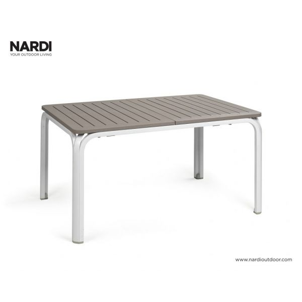 NARDI ALLORO OUTDOOR RESIN EXTENSION DINING TABLE WHITE / LIGHT BROWN ( BIANCO/TORTORA )- 140/210 x 100CM