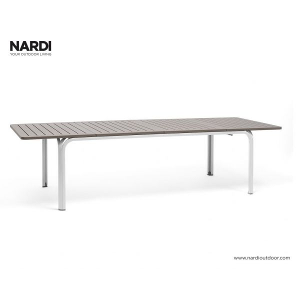 NARDI ALLORO OUTDOOR RESIN EXTENSION DINING TABLE WHITE / LIGHT BROWN  ( BIANCO/TORTORA )- 210/280 x 100CM