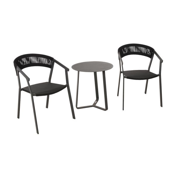 AUTO CHAIR APOLLO TABLE CHARCOAL-3PC OUTDOOR BALCONY SETTING