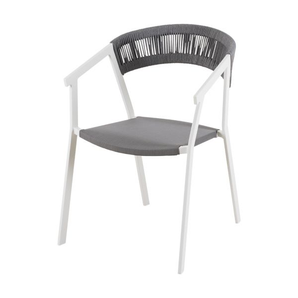 AUTO OUTDOOR ROPE DINING CHAIR WHITE/SILVER BLACK