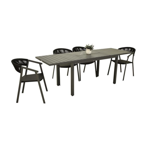 AUTO EXTENSION TABLE WITH AUTO ROPE CHAIR CHARCOAL - 5 PCS OUTDOOR DINING SETTIING