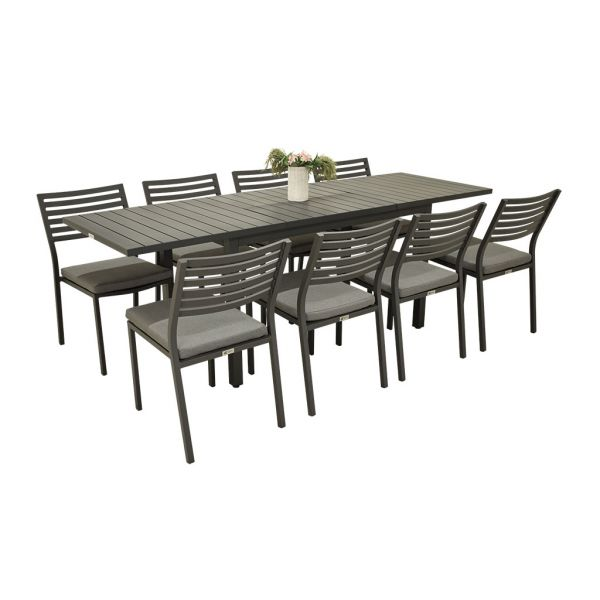 AUTO EXTENSION DINING TABLE WITH CODA ARMLESS CHAIR CHARCOAL-9PC OUTDOOR DINING SETTING