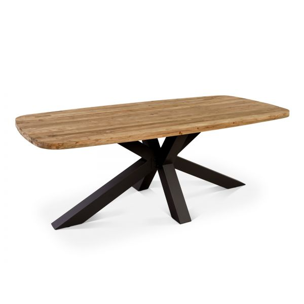 COLOGNE OUTDOOR RECYCLE TEAK DINING TABLE  WITH ALUMINIUM LEG CHARCOAL 220X100X75CM