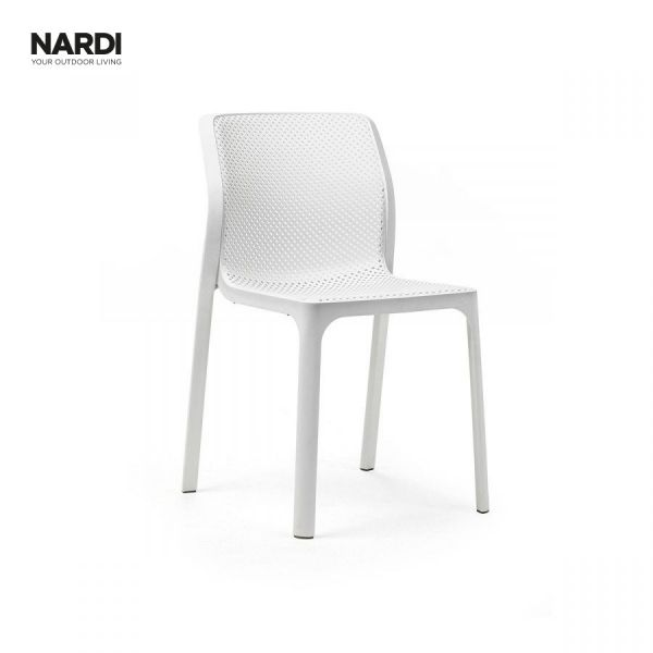 NARDI BIT OUTDOOR RESIN DINING ARMLESS CHAIR WHITE ( BIANCO )