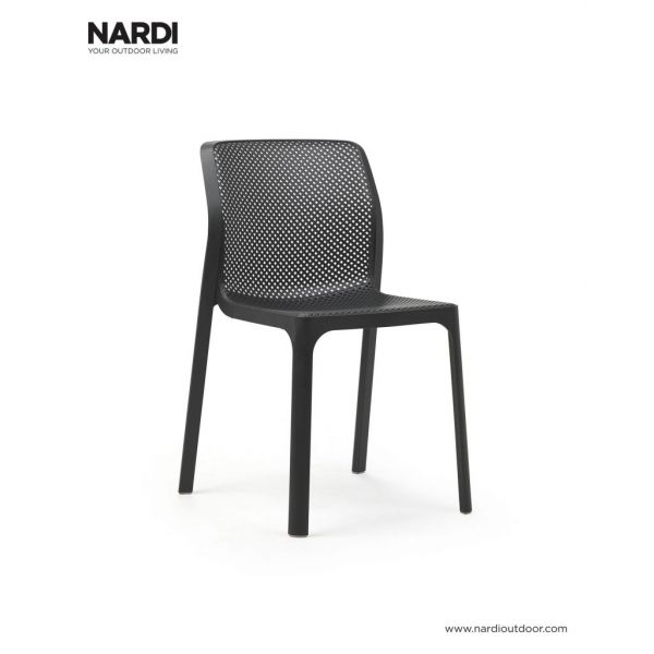 NARDI BIT OUTDOOR RESIN DINING ARMLESS CHAIR ANTHRACITE