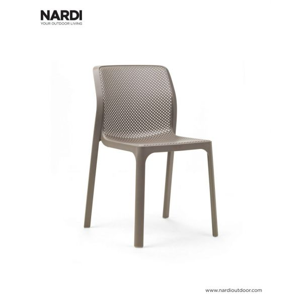 NARDI BIT OUTDOOR RESIN DINING ARMLESS CHAIR LIGHT BROWN ( TORTORA )