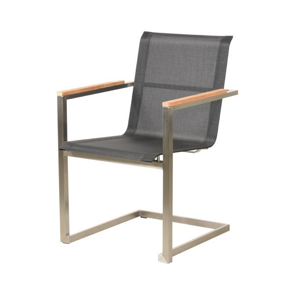 BONN II STAINLESS STEEL DINING CHAIR BLACK WITH TEAK ARM
