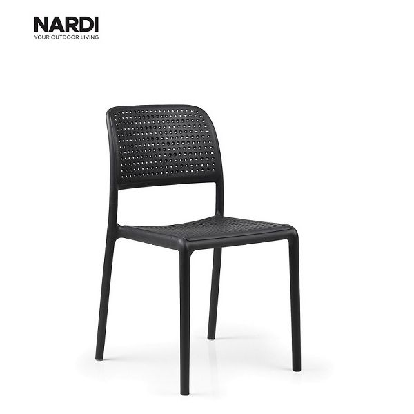 NARDI BORA OUTDOOR RESIN DINING ARMLESS CHAIR ANTHRACITE