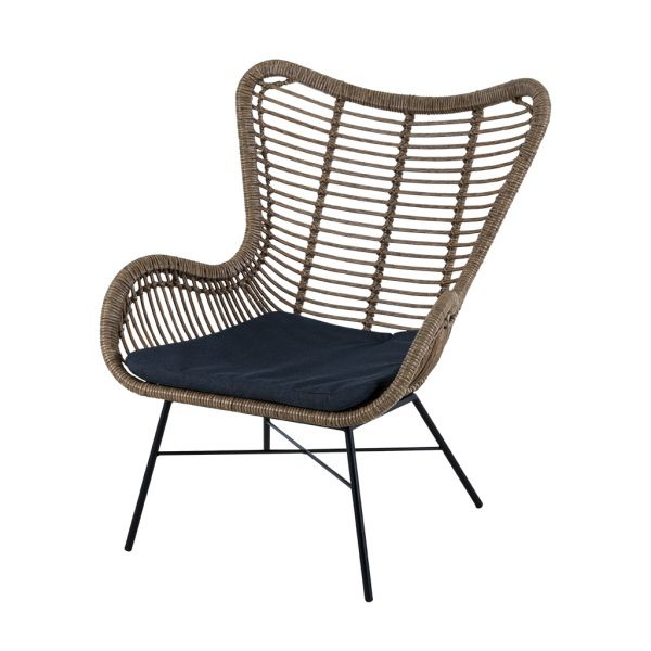 BRISBANE OUTDOOR WICKER BALCONY LOUNGE CHIAR WITH BLACK STEEL LEGS