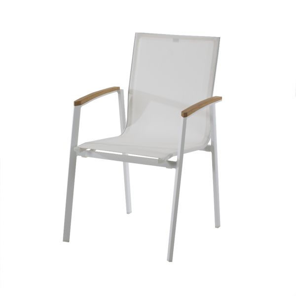 BRONTE OUTDOOR DINING CHAIR WHITE WITH TEAK ARM