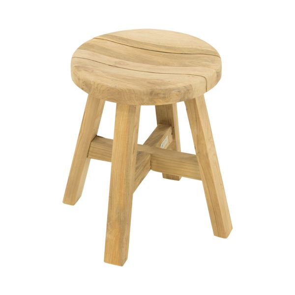 CARA OUTDOOR RECYCLED TEAK STOOL NATURAL DIA.32 x 45CM