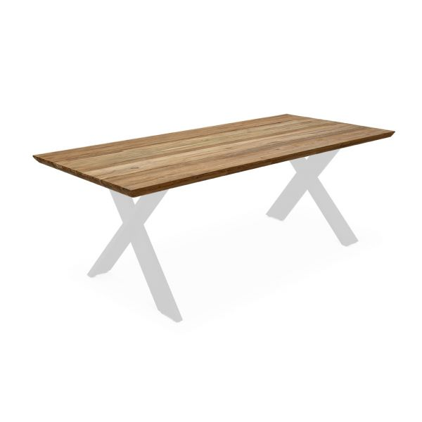 CARMEL OUTDOOR RECYCLE TEAK  DINING TABLE NATURAL  WITH ALUMINIUM LEG WHITE 220X100X75CM