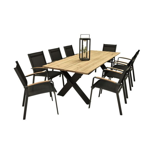 CARMEL OUTDOOR RECYCLED TEAK DINING TABLE 220 CM WITH COSMO DINING CHAIR WITH TEAK ARMREST-9PCS OUTDOOR DINING SETTING