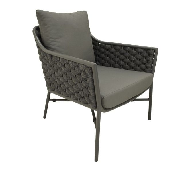 EX-FLOOR STOCK NANTES  OUTDOOR ALUMINIUM/ROPE ONE SEATER  SOFA CHARCOAL FRAME CHARCOAL ROPE
