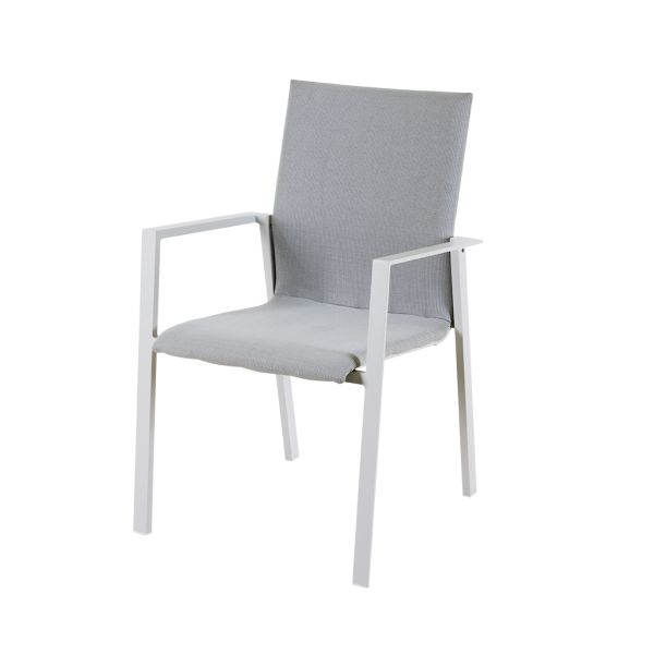 EDEN OUTDOOR TEXTILENE DINING CHAIR WITH QUICK DRY FOAM PAD WHITE
