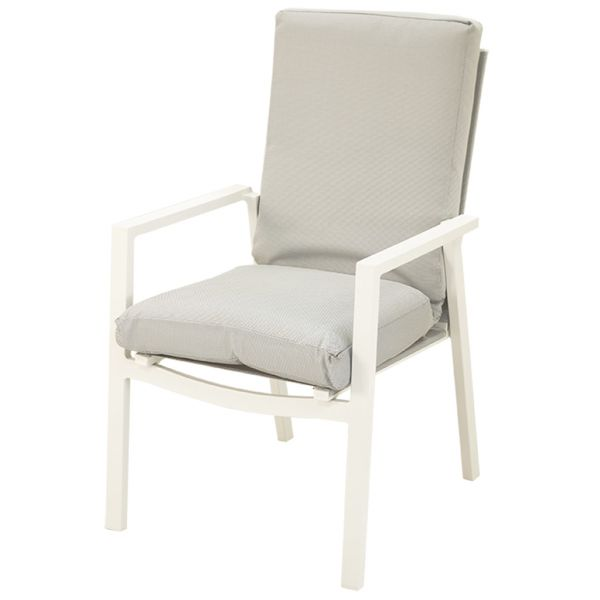 CHESTER OUTDOOR ALUMINIUM/TEXTILENE DINING CHAIR WHITE