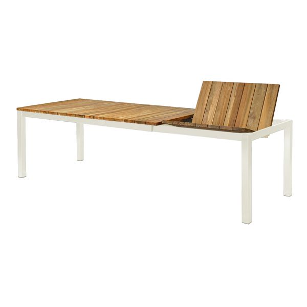 CHICAGO OUTDOOR RECYCLE TEAK EXTENSION TABLE STAINLESS STELL WHITE EXTENSION 180/250X100X75CM