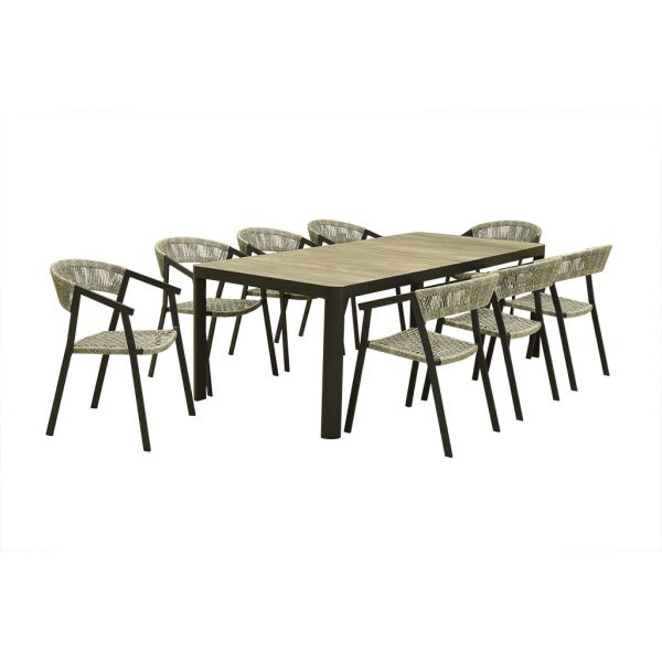 CLIFTON CERAMIC TABLE CHARCOAL WITH AUTO WICKER CHAIR - 9PC OUTDOOR DINING SETTING