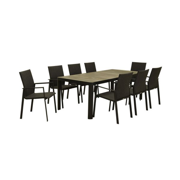 CLIFTON CERAMIC TABLE CHARCOAL WITH EDEN CHAIRS - 9PC OUTDOOR DINING SENTTING