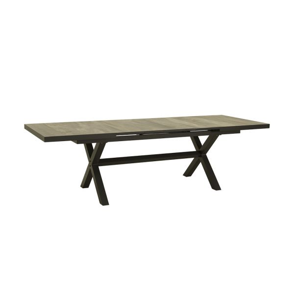 CLIFTON OUTDOOR WOOD LOOK CERAMIC EXTENSION DINING TABLE CHARCOAL- 205 / 265CM