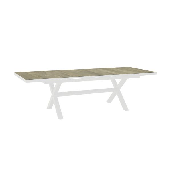 CLIFTON OUTDOOR WOOD LOOK CERAMIC EXTENSION DINING TABLE WHITE - 205 / 265CM