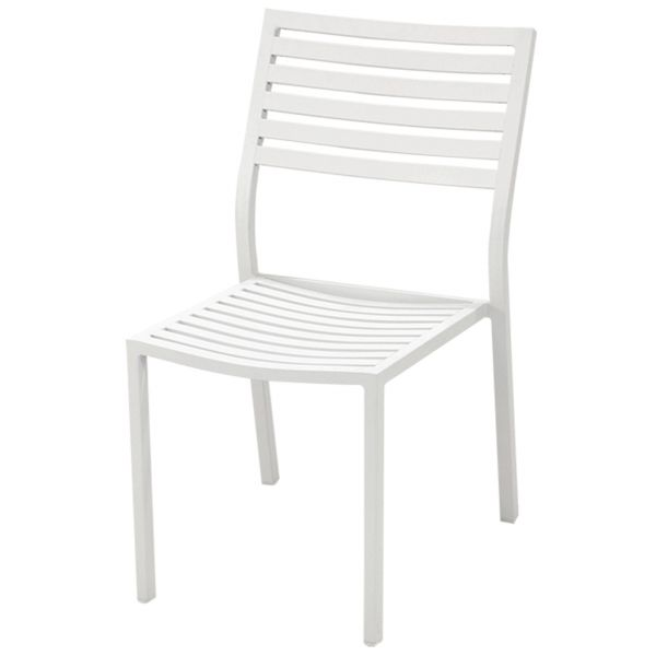 CODA OUTDOOR ALUMINIUM ARMLESS CHAIR WHITE