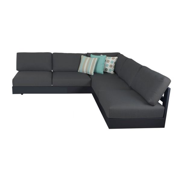 COMO MOD OUTDOOR ALUMINIUM 5 SEATER LOUNGE SETTING CHARCOAL (WITHOUT COFFEE TABLE)
