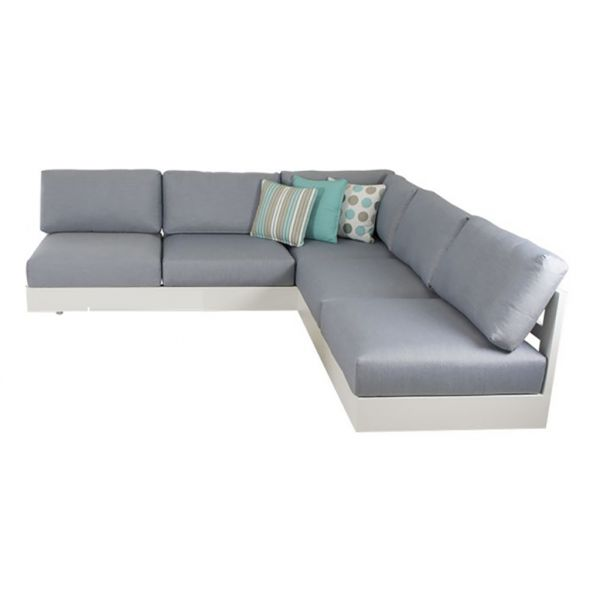 COMO MOD OUTDOOR ALUMINIUM 5 SEATER LOUNGE SETTING WHITE (WITHOUT COFFEE TABLE)