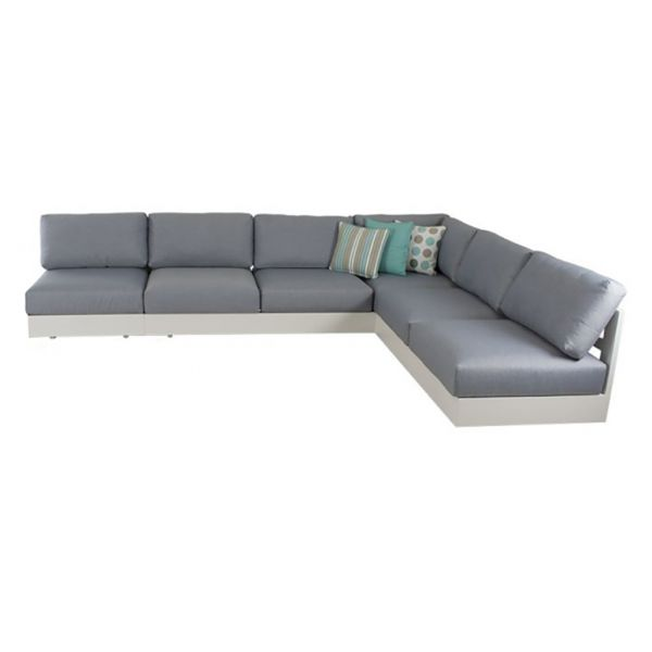COMO MOD OUTDOOR ALUMINIUM 6 SEATER LOUNGE SETTING WHITE(WITHOUT COFFEE TABLE)