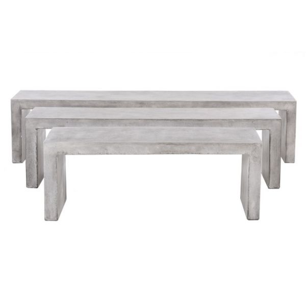 ZEN OUTDOOR BENCH 160CM GFRC WEATHERED CEMENT