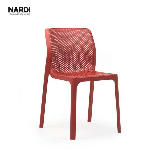 NARDI BIT OUTDOOR RESIN DINING ARMLESS CHAIR RED ( CORALLO )